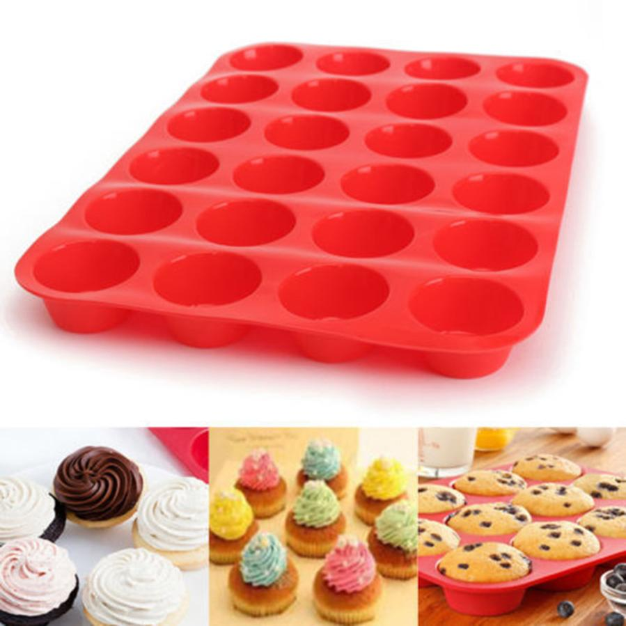 [해외]/24 Cavity Mini Muffin Silicone Soap Cookies Cupcake Bakeware Pan Tray Mould Stampo Silicone Cake Decorating Tools Mold ZDT1